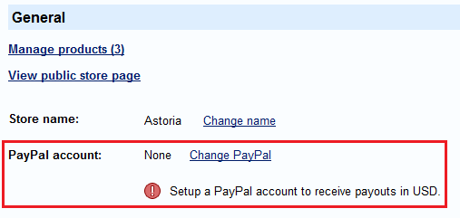 Store PayPal Account