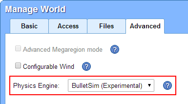 Select Physics Engine