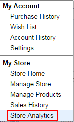Navigation Menu: Store Analytics