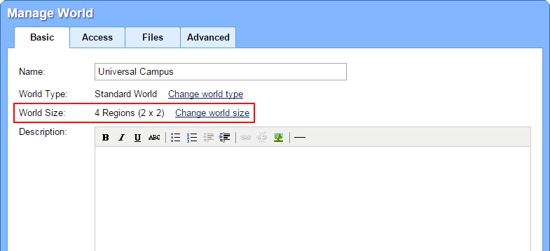 Change World Size